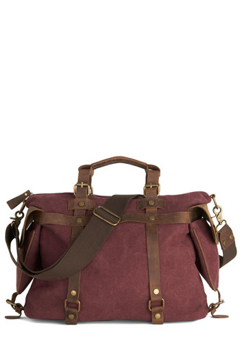 In the Event of Adventure Bag in Cabernet - Red, Solid, Buckles, Best, Variation, Leather, Woven, Brown, Casual, Rustic, Travel, Fall, Winter, Exclusives
