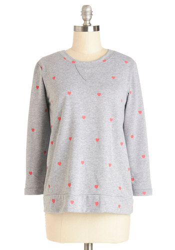 All's Well That Ends Wheel Top in Hearts - Knit, Mid-length, Grey, Long Sleeve, Crew, Grey, Long Sleeve, Red, Novelty Print, Casual, Variation