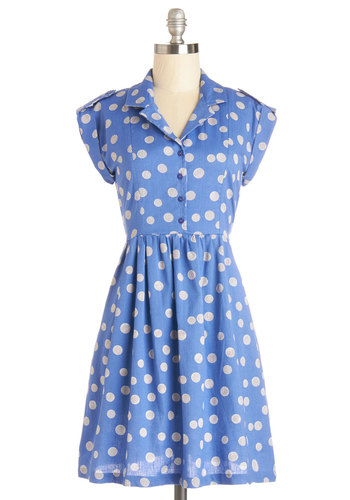 Champs-Elysees You Do Too Dress in Cornflower by Bibico - Blue, Polka Dots, Buttons, Epaulets, Casual, Shirt Dress, Short Sleeves, Better, Collared, Cotton, Woven, Mid-length, White, Pockets, Variation, Spring