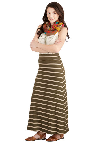 Pasture and Present Skirt - Green, Stripes, Casual, Maxi, Good, Jersey, Knit, Long, Green, Festival