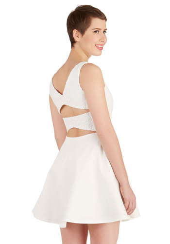 What a Beauty Dress - White, Solid, Cutout, Lace, Daytime Party, A-line, Sleeveless, Better, Boat, Knit, Mid-length