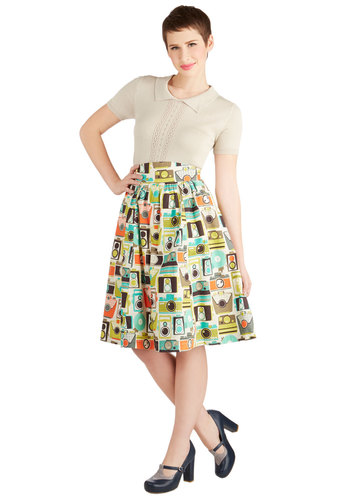 Flair for the Fantastic Skirt in Cameras by Bea & Dot - Long, Cotton, Woven, Novelty Print, Pockets, A-line, High Waist, Exclusives, Cream, Casual, Quirky, Spring, Summer, Best, White, WPI
