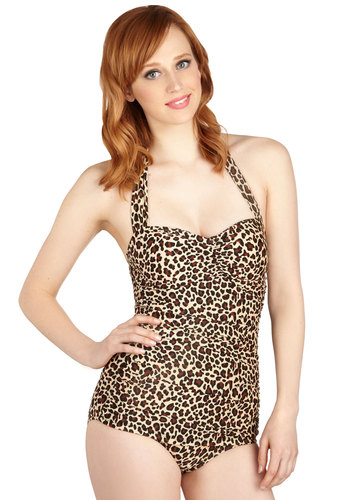 Bathing Beauty One Piece in Wild by Esther Williams - Animal Print, Ruching, Summer, Brown, Tan / Cream, Halter, Tis the Season Sale, Beach/Resort, Pinup, Vintage Inspired, 40s, 50s, 60s, Best Seller, Halloween