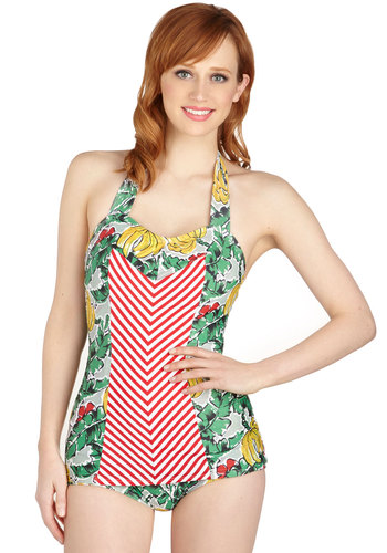 And Then Sun One-Piece Swimsuit in Island by Fables by Barrie - Multi, Stripes, Tie Neck, Beach/Resort, Vintage Inspired, 40s, Red, Yellow, Green, Novelty Print, Safari, Rockabilly, Pinup, 50s, Fruits, Halter, Summer, Variation, Chevron