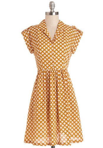 Champs-Elysees You Do Too Dress in Lattice by Bibico - Yellow, Tan / Cream, Print, Buttons, Epaulets, Casual, Shirt Dress, Short Sleeves, Better, Collared, Mid-length, Cotton, Woven, Pockets, Variation
