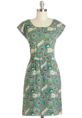 Map Happy Dress by Nice Things - Cotton, Woven, Mid-length, Multi, Novelty Print, Backless, Pockets, Casual, Shift, Cap Sleeves, Better, Scoop, Buttons, Vintage Inspired, 40s, Summer, International Designer