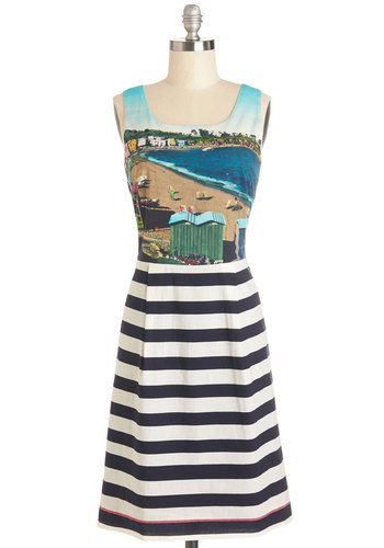 We'll Sea Dress by Nice Things - Cotton, Mid-length, Woven, Multi, Stripes, Cutout, Casual, A-line, Better, Novelty Print, Scoop, Sleeveless, Summer, International Designer