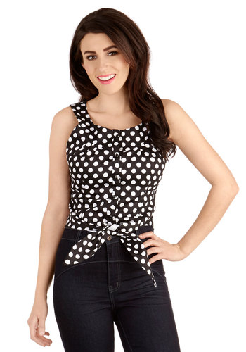 Boardwalk Meet-Up Top - Cotton, Knit, Short, Black, White, Polka Dots, Buttons, Rockabilly, Pinup, Vintage Inspired, 50s, Sleeveless, Black/White, Sleeveless, 60s, Scoop, Spring, Summer, Good