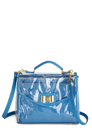 Out of a Clear Blue Sky Bag - Blue, Solid, Bows, Faux Leather