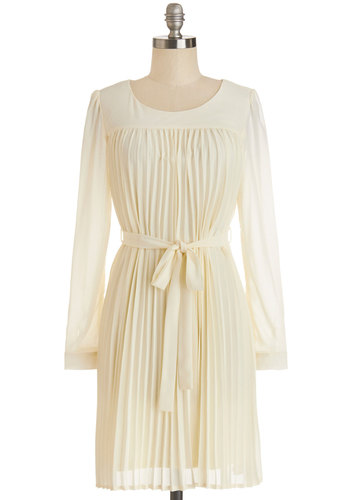 Does This Strike Accordion? Dress - Cream, Solid, Pleats, Shift, Long Sleeve, Good, Scoop, Sheer, Mid-length, Chiffon, Belted, Daytime Party, Spring