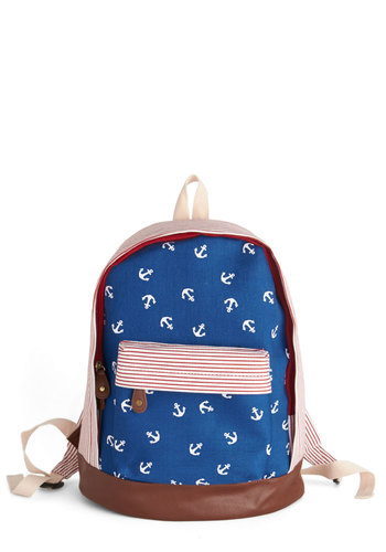 Day at the Dock Backpack - Blue, Red, White, Stripes, Print, Nautical, Scholastic/Collegiate, Graduation, Americana, Summer