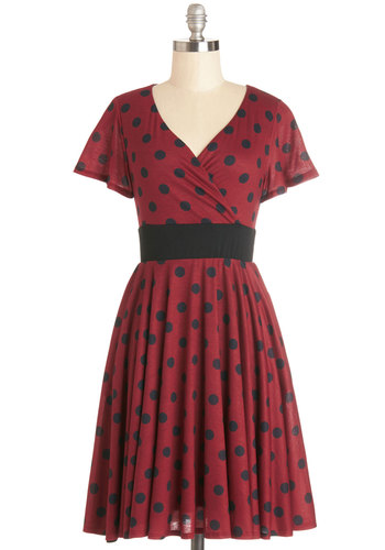 Feeling Footloose Dress in Red - Jersey, Knit, Red, Black, Polka Dots, Casual, A-line, Short Sleeves, Good, V Neck, Exclusives, Variation, Work, Full-Size Run, Mid-length