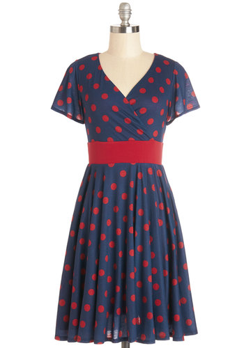 Feeling Footloose Dress in Navy - Jersey, Knit, Blue, Red, Polka Dots, Casual, A-line, Short Sleeves, Better, V Neck, Pockets, Exclusives, Work, Top Rated, Full-Size Run, Mid-length