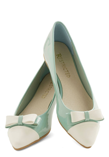 Everyday Elation Flat by Restricted - Flat, Mint, Tan / Cream, Solid, Bows, Work, Colorblocking, Darling, Good, Spring, Pastel, 60s, Beach/Resort, Daytime Party