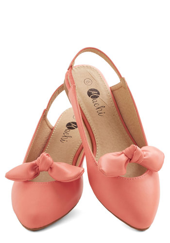 Etiquette Coach Flat in Coral - Flat, Faux Leather, Coral, Solid, Bows, Daytime Party, Variation, Spring