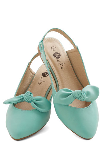 Etiquette Coach Flat in Mint - Flat, Faux Leather, Mint, Solid, Bows, Daytime Party, Variation, Spring
