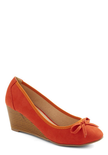 Shake, Rattle, and Stroll Wedge - Mid, Faux Leather, Orange, Solid, Bows, Daytime Party, Good, Wedge, Work