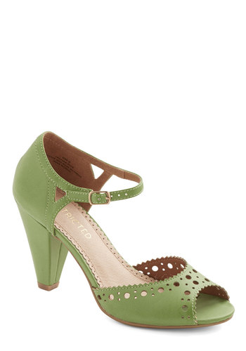 On the Bright Stride Heel in Green by Restricted - Mid, Faux Leather, Green, Solid, Cutout, Work, Vintage Inspired, Better, Peep Toe, Daytime Party, 40s, Spring