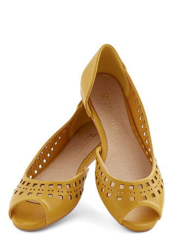Cute Cubed Flat in Mustard by Restricted - Flat, Faux Leather, Yellow, Solid, Cutout, Variation