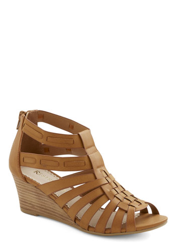 Swap Meet Wedge - Mid, Faux Leather, Tan, Solid, Cutout, Casual, Boho, Better, Wedge, Strappy, Festival, Summer
