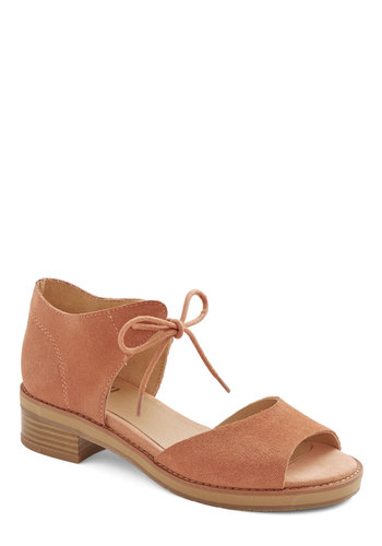 Friendly Footwork Heel in Clay by BC Footwear - Low, Leather, Suede, Pink, Solid, Casual, Daytime Party, Beach/Resort, Better, Lace Up, Peep Toe, Chunky heel