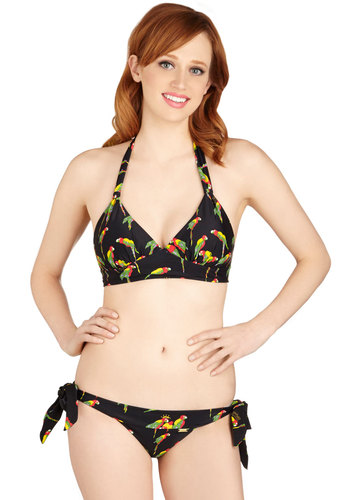 Welcome to Parrot-dise Swimsuit Top - Knit, Black, Multi, Print with Animals, Beach/Resort, Halter, Summer, Halter
