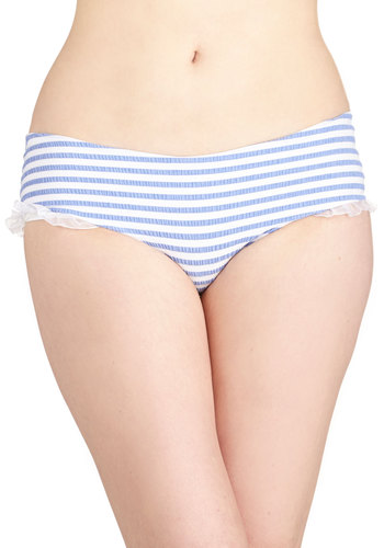 Sun-Soaked Shoreline Swimsuit Bottom - Knit, Blue, White, Stripes, Ruffles, Beach/Resort, Nautical, Summer