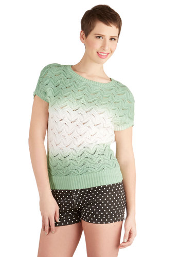 Fade My Day Sweater - Mid-length, Sheer, Knit, Green, White, Ombre, Knitted, Casual, Short Sleeves, Green, Short Sleeve