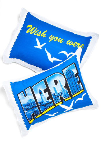 Overnight Flight Pillow Sham Set - Blue, Novelty Print, Dorm Decor, Summer