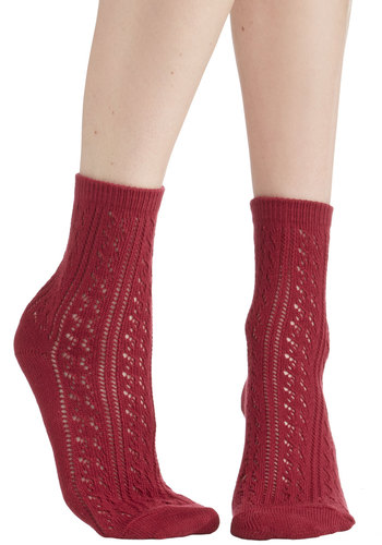 Whimsy for Yourself Socks in Cranberry - Sheer, Knit, Red, Solid, Crochet, Casual, Good, Variation, Valentine's