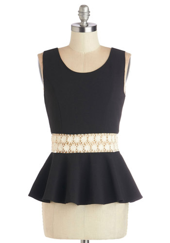 Peplum Rallying Top - Mid-length, Woven, Black, Solid, Peplum, Sleeveless, Black, Sleeveless, White, Crochet, Party, Scoop