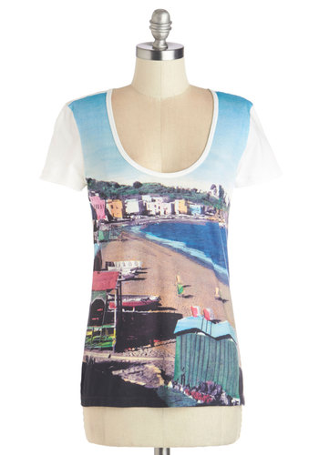 We'll Sea Tee by Nice Things - Cotton, Knit, Mid-length, Novelty Print, Casual, Travel, Short Sleeves, Summer, International Designer, Scoop, Multi, Short Sleeve, Multi, Good