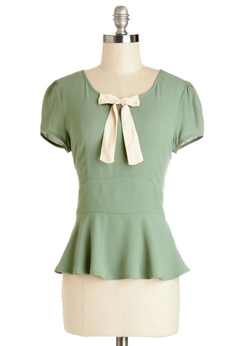 Everything You Love Top - Woven, Mid-length, Green, Solid, Bows, Work, Darling, Peplum, Short Sleeves, Green, Short Sleeve, Vintage Inspired, 40s, Spring