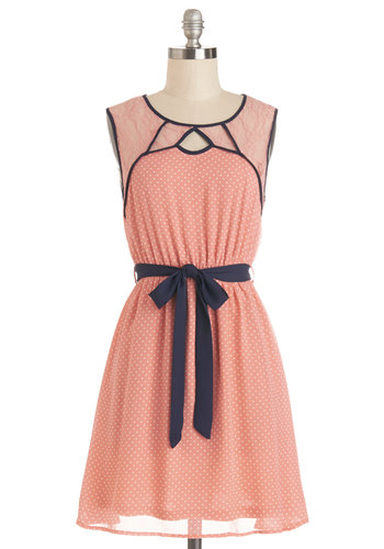 Full of Flair Dress - Coral, White, Polka Dots, Cutout, Lace, Trim, Belted, Casual, A-line, Sleeveless, Good, Woven, Mid-length, Sheer, Blue, Scoop, Spring