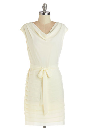 After the Ceremony Dress - Cream, Solid, Tiered, Belted, Daytime Party, Shift, Sleeveless, Good, Cowl, Woven, Short, Cap Sleeves, Wedding, Bride