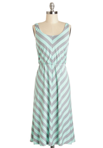 Quiet of the Night Dress in Seafoam - Knit, Long, Grey, Mint, Stripes, Casual, Sundress, A-line, Tank top (2 thick straps), Better, Scoop, Chevron
