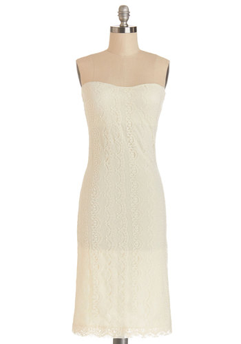 Each Elegant Evening Dress - Cream, Solid, Lace, Wedding, Bride, Maxi, Strapless, Better, Sweetheart, Woven, Long, Lace