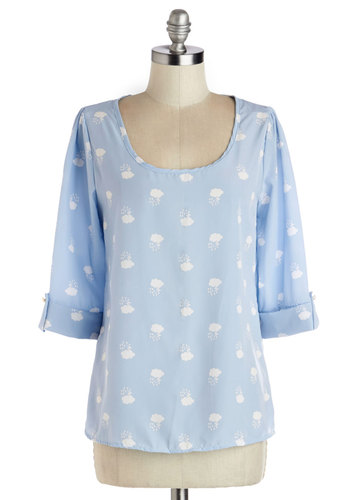 Daily Lunch Date Top in Storm - Blue, Novelty Print, Casual, 3/4 Sleeve, Spring, Scoop, Woven, White, Variation, Pastel, Mid-length, Blue, Tab Sleeve
