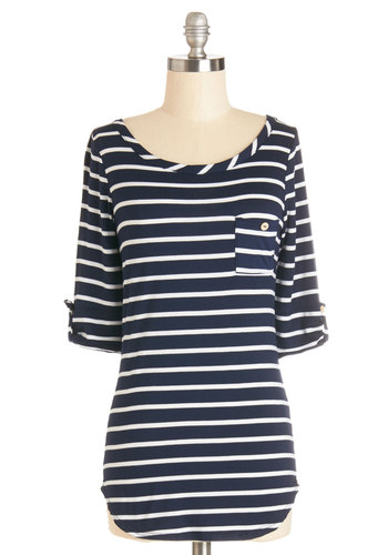 Stripe Zone Top in Navy - Blue, Tab Sleeve, Knit, Mid-length, Blue, White, Stripes, Casual, Nautical, 3/4 Sleeve, Pockets, Variation