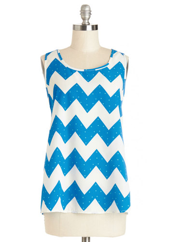 Installation Art Exhibit Top in Blue Zigzag - Blue, White, Polka Dots, Chevron, Woven, Mid-length, Sleeveless, Variation, Blue, Sleeveless, Scoop, Spring, Summer, Good