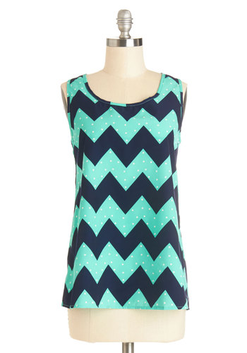 Installation Art Exhibit Top in Aqua Zigzag - Blue, Polka Dots, Chevron, Woven, Sleeveless, Variation, Green, Sleeveless, Scoop, Mid-length