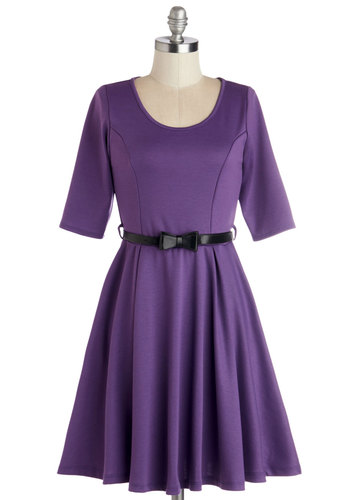 Abiding Beauty Dress in Purple - Knit, Mid-length, Purple, Solid, Belted, Casual, A-line, 3/4 Sleeve, Good, Scoop, Variation