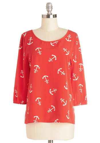 Red-dy or Nautical Top - Red, Red, 3/4 Sleeve, Mid-length, Chiffon, Woven, Novelty Print, Nautical, 3/4 Sleeve, Spring, White, Scoop