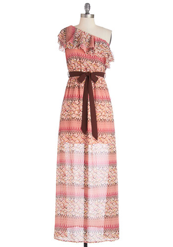 Pixel Me in Pink Dress - Belted, Multi, Ruffles, Casual, Maxi, One Shoulder, Good, Long, Chiffon, Woven, Pink, Print, Summer