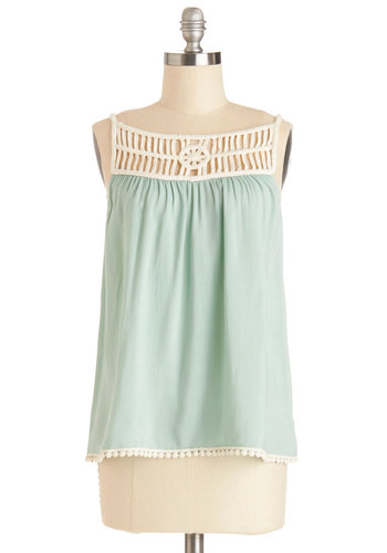 Whimsical Window Shopping Top - Mint, Solid, Casual, Spaghetti Straps, Good, Mid-length, Sheer, Woven, Crochet, Green, Sleeveless, Tan / Cream, Festival, Pastel, Summer
