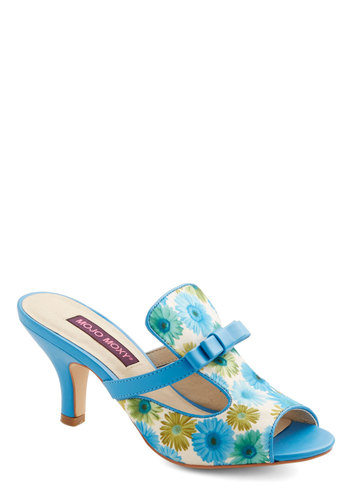 Palm Springs Pool Party Heel - Mid, Faux Leather, Woven, Blue, Multi, Floral, Bows, Cutout, Wedding, Party, Daytime Party, Better, Peep Toe