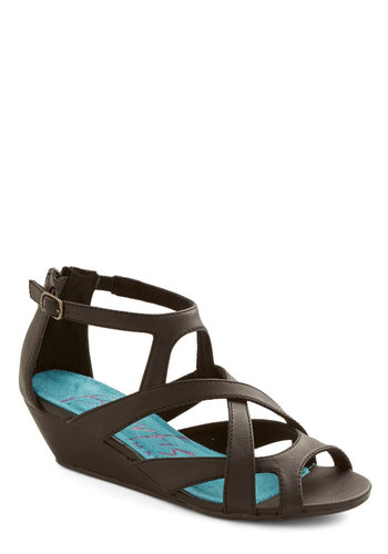 Always Having Fun Wedge in Black - Mid, Faux Leather, Black, Solid, Cutout, Casual, Better, Wedge, Strappy, Daytime Party, Variation, Summer