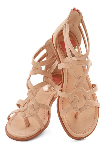 Campfire State of Mind Sandal in Peach by BC Footwear - Low, Faux Leather, Pink, Solid, Casual, Beach/Resort, Boho, Festival, Variation, Summer