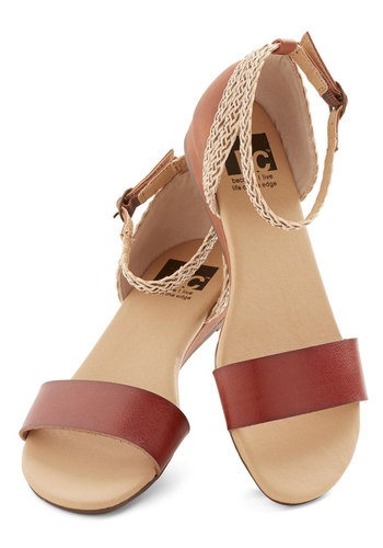 Lakeview Lodge Sandal in Chestnut by BC Footwear - Low, Faux Leather, Brown, Tan / Cream, Braided, Boho, Summer, Better, Wedge, Solid, Variation