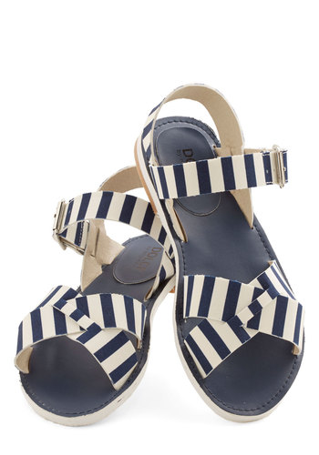 The Perfect Parasol Sandal in Navy - Flat, Faux Leather, Blue, White, Stripes, Casual, Beach/Resort, Nautical, Variation, Summer, Americana
